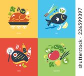 cooking objects chicken fish... | Shutterstock .eps vector #226599397