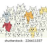 Stock vector background with the funny cute cats 226611337