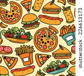 fast food seamless background | Shutterstock .eps vector #226613173