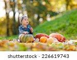 little girl in jeans sundress... | Shutterstock . vector #226619743