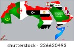 arab world map and flags | Shutterstock .eps vector #226620493