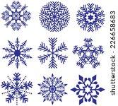 snowflake set   blue... | Shutterstock . vector #226658683