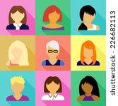 women vector icons set  | Shutterstock .eps vector #226682113