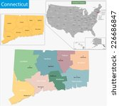 map of connecticut state... | Shutterstock .eps vector #226686847