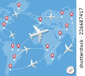 airplanes over blue map with... | Shutterstock .eps vector #226687417