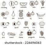 hand drawn fruit icons set | Shutterstock .eps vector #226696063