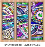 Set Of Three Abstract Doodle...