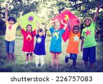 children playing kite happiness ... | Shutterstock . vector #226757083