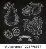 fruit drawn in chalk on a... | Shutterstock .eps vector #226796557