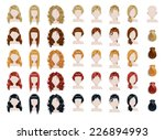 set of female hair style...