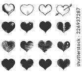 vector set of dark gray sketch... | Shutterstock .eps vector #226937287