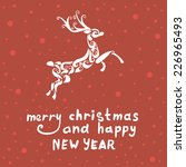 merry christmas deer   ... | Shutterstock .eps vector #226965493