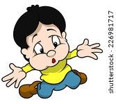boy kneeling and gesture why  ... | Shutterstock .eps vector #226981717