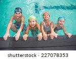 cute swimming class in the pool ... | Shutterstock . vector #227078353