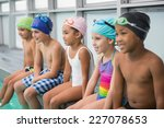 cute swimming class smiling... | Shutterstock . vector #227078653