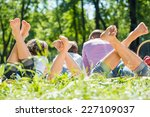 young happy family lying in... | Shutterstock . vector #227109037
