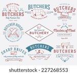 vector butcher meat badges and... | Shutterstock .eps vector #227268553