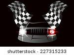 checkered flag racing   Shutterstock .eps vector #227315233