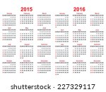 2015 and 2016 years calendar... | Shutterstock .eps vector #227329117