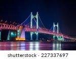 gwangan bridge lit up at night... | Shutterstock . vector #227337697