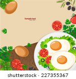 fried eggs on a wooden... | Shutterstock .eps vector #227355367