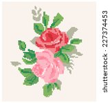 roses pattern. stitching design.... | Shutterstock .eps vector #227374453