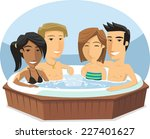 people enjoying jacuzzi hot tub ... | Shutterstock .eps vector #227401627