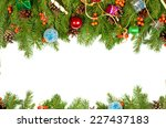 christmas background with balls ... | Shutterstock . vector #227437183