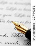 pen over old paper background | Shutterstock . vector #22744351