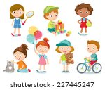 children with toys | Shutterstock .eps vector #227445247