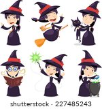 Witch Set With Witch Wearing A...