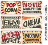 set of vintage cinema metal... | Shutterstock .eps vector #227485813