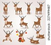 reindeer christmas icons set....