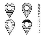 vector doodle map pin sign... | Shutterstock .eps vector #227514187