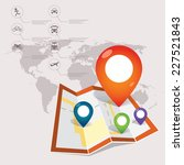 locations   map and icons | Shutterstock .eps vector #227521843