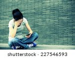 Headache Young Asian Woman Sit...