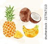 set of colorful fresh fruit...   Shutterstock .eps vector #227567113