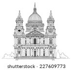 st. pauls cathedral  london.... | Shutterstock .eps vector #227609773
