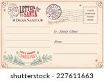 vintage christmas letter to... | Shutterstock .eps vector #227611663