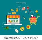 set of flat design concept... | Shutterstock .eps vector #227614807