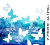 watercolor blue background with ... | Shutterstock .eps vector #227619013