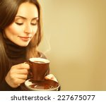 coffee. beautiful girl drinking ... | Shutterstock . vector #227675077