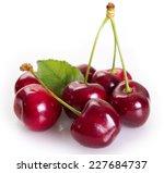 fresh cherry isolated on white... | Shutterstock . vector #227684737