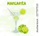 margarita cocktail with a slice ... | Shutterstock .eps vector #227707513