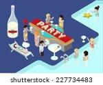 flat party 3d isometric modern...   Shutterstock .eps vector #227734483