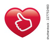 love red heart with big finger... | Shutterstock .eps vector #227752483