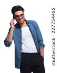 handsome casual man holding his ... | Shutterstock . vector #227754433