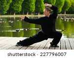 young man practising tai chi by ... | Shutterstock . vector #227796007