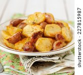 Small photo of Balsamic Roast Potato with Unpeeled Garlic, Eschalot and Rosemary, square, copy space for your text
