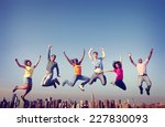 cheerful people jumping... | Shutterstock . vector #227830093